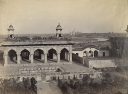 Agra. Palace in Fort, Taj and river in distance.